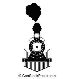 antiquité, train, noir, vecteur