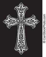 antiquité, vecteur, chrétien, croix