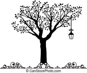 antiquité, vectors, ornement, arbre
