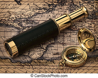 antiquité, vendange, horloge, carte