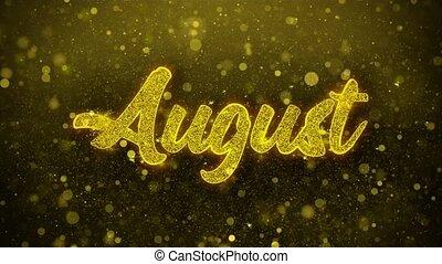 août, carte, invitation, voeux, salutations, feud'artifice, célébration