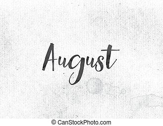 août, peint, thème, encre, mot, concept