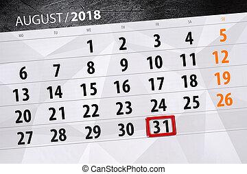 août, planificateur, semaine, vendredi, date limite, 2018, 31, mois, calendrier, jour