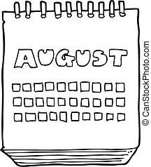 août, projection, mois, noir, blanc, calendrier, dessin animé