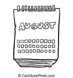 août, projection, mois, noir, freehand, dessiné, calendrier, blanc, dessin animé