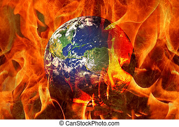 apocalyptique, fin, scénario, brûlé, terre planète