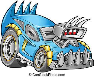 apocalyptique, voiture, vecteur, véhicule