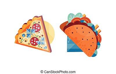 appétissant, pizza, sommet, nourriture, plats, illustration, frais, vue, ensemble, jeûne, tacos, plat, couper, vecteur