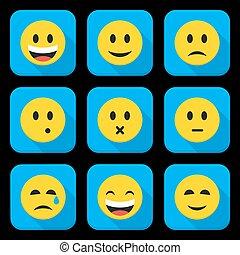 app, carré, jaune, ensemble, icône, sourire fait face