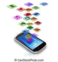 app, concept, 3d