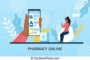 app, concept, pharmacie, monde médical, ligne