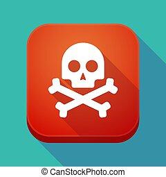 app, ombre, long, crâne, icône