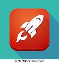 app, ombre, long, fusée, icône