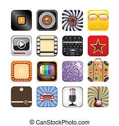 app, retro, icônes