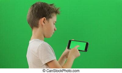appareil, écran, smartphone, vert, enfant