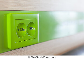 appareil, haut, vert, charging., fin, réceptacle