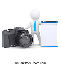 appareil photo, 3d, homme