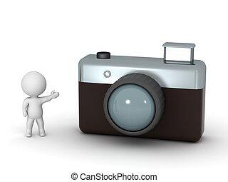 appareil photo, caractère, projection, 3d, photo