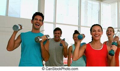 appareil photo, classe, sourire, fitness, wi
