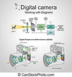 appareil photo, dslr, numérique