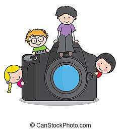 appareil photo, enfants