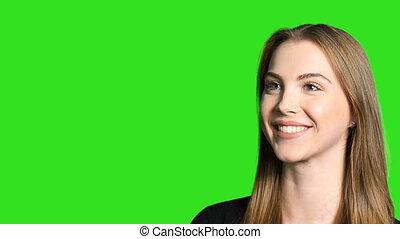 appareil photo, femme souriante, closeup