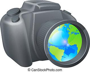 appareil photo, globe, concept