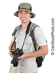appareil photo, jeune, touriste
