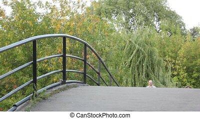 appareil photo, marche, parc, famille, pont