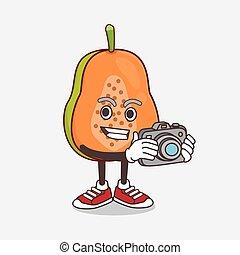 appareil photo, mascotte, dessin animé, photographe, fruit, papaye, action, caractère
