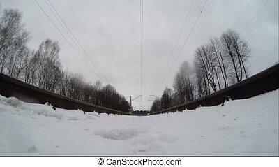 appareil photo, monté, train, extrême, sous