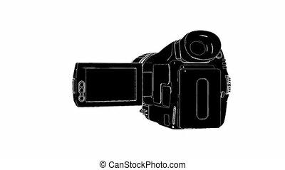 appareil photo, noir, vidéo, hd, blanc