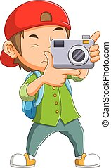 appareil photo, photo, main, sien, garçon, essayer, prendre
