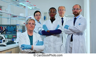 appareil photo, professionnel, regarder, multiethnic, personnel médical
