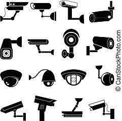 appareil-photo sécurité, ensemble, icônes