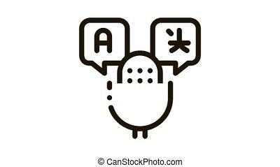 appareil, voix, microphone, icône, animation