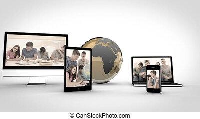 appareils, étudiants, vidéos