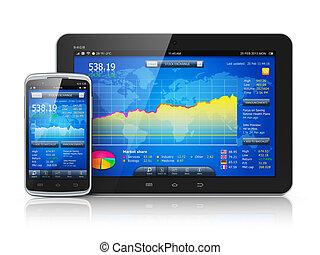 appareils, marché, stockage, mobile