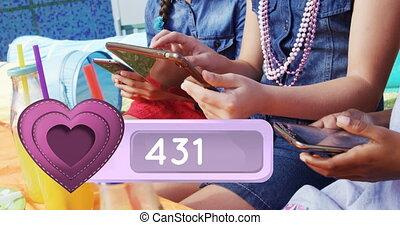 appareils, mobile, groupe, vérification, adolescents, 4k, leur
