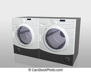 appareils, rondelle, drier., ménage