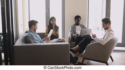 appareils, séance, tenue, groupe, professionnels, divers, utilisation, bureau