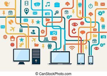 appareils, social, média, connexion, concept