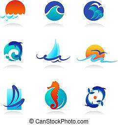 apparenté, icônes, mer, collection