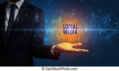 apparenté, média, social, inscription, tenant main