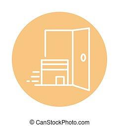 apparenté, porte, style, cargaison, bloc, expédition, carton, icône, boîte livraison