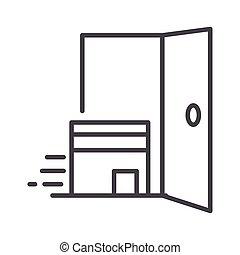 apparenté, porte, style, ligne, cargaison, expédition, carton, icône, boîte livraison
