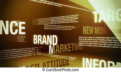 apparenté, publicité, mots, boucle