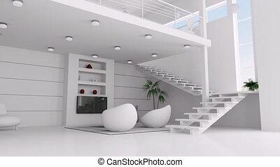 appartement, blanc, animation