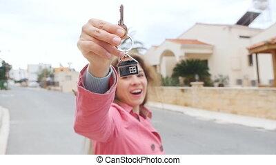 appartement, clés, projection, renter, propriétaire, ou, heureux