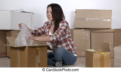 appartement, emballage, enregistrer, boîtes, femme, en mouvement, nouveau, carton
